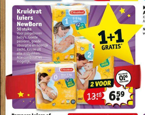 1+1 op kruidvat newborn luiers
