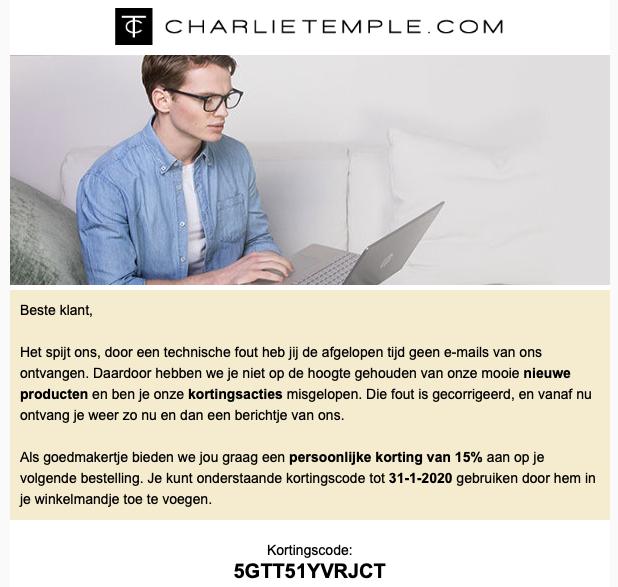 15% korting op de gehele collectie bij Charlie Temple met kortingscode.