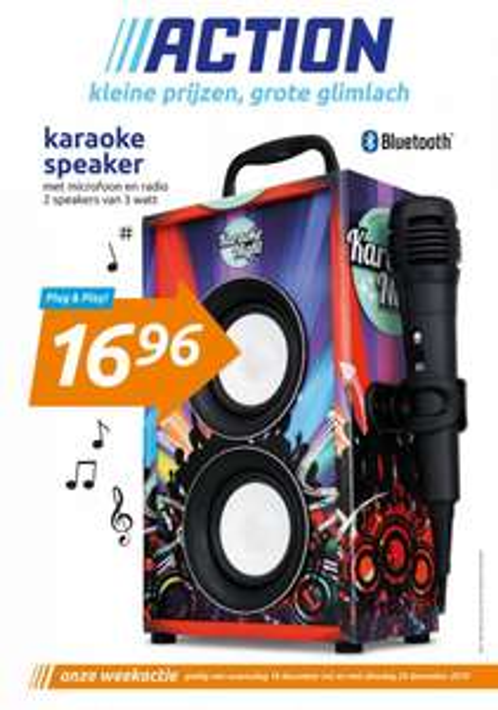 Karaoke Speaker met bluetooth, microfoon, radio en twee speakers van 3 watt.