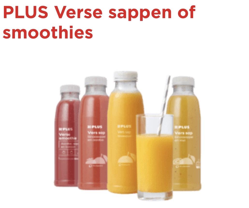 Plus verse vruchtensappen of smoothie 1+1 gratis