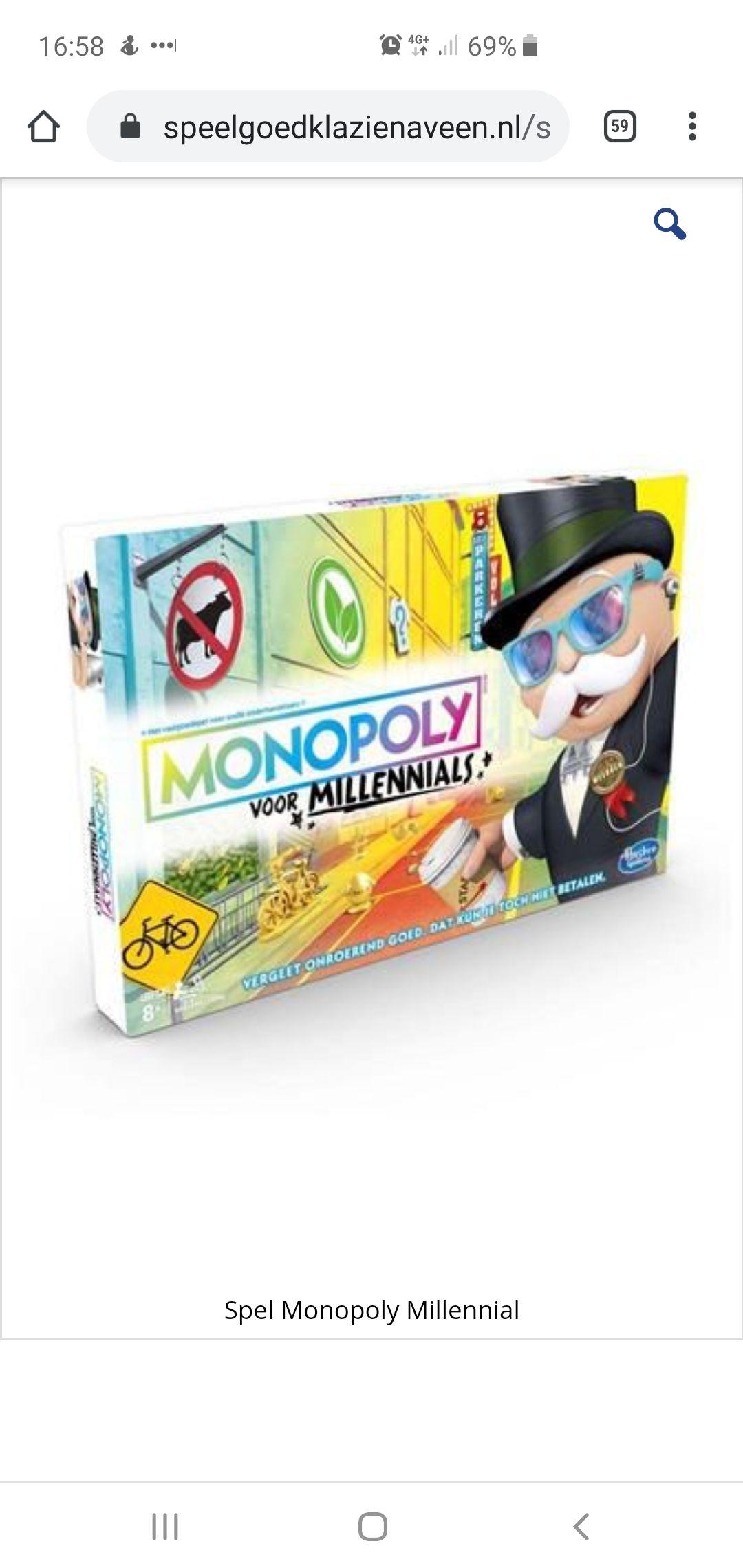 Monopoly Millennials edition bij Speelgoedwinkel Klazienaveen