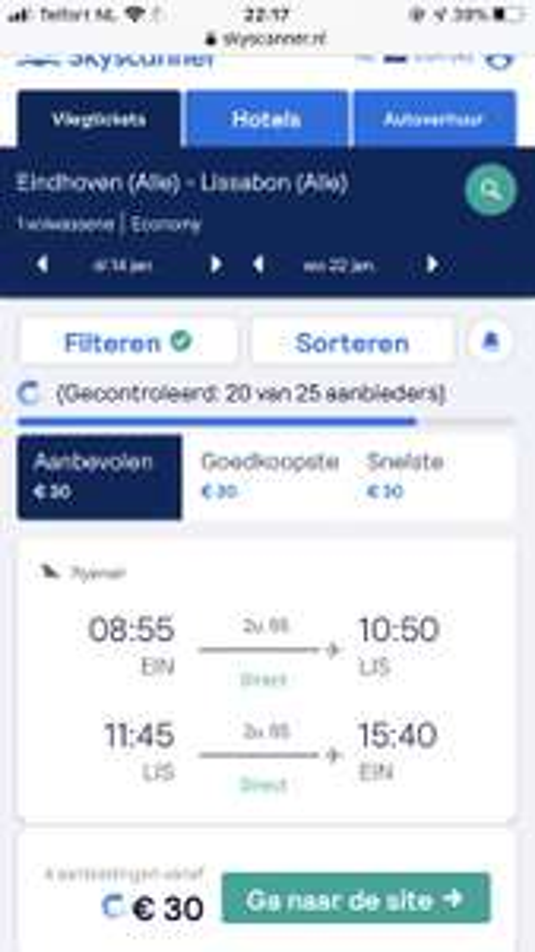 Retourvlucht Eindhoven-Lissabon 30,-