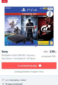 [Wehkamp] Playstation 4 slim 500gb + controller, uncharted 4, horizon zero dawn complete edition, gran turismo sport