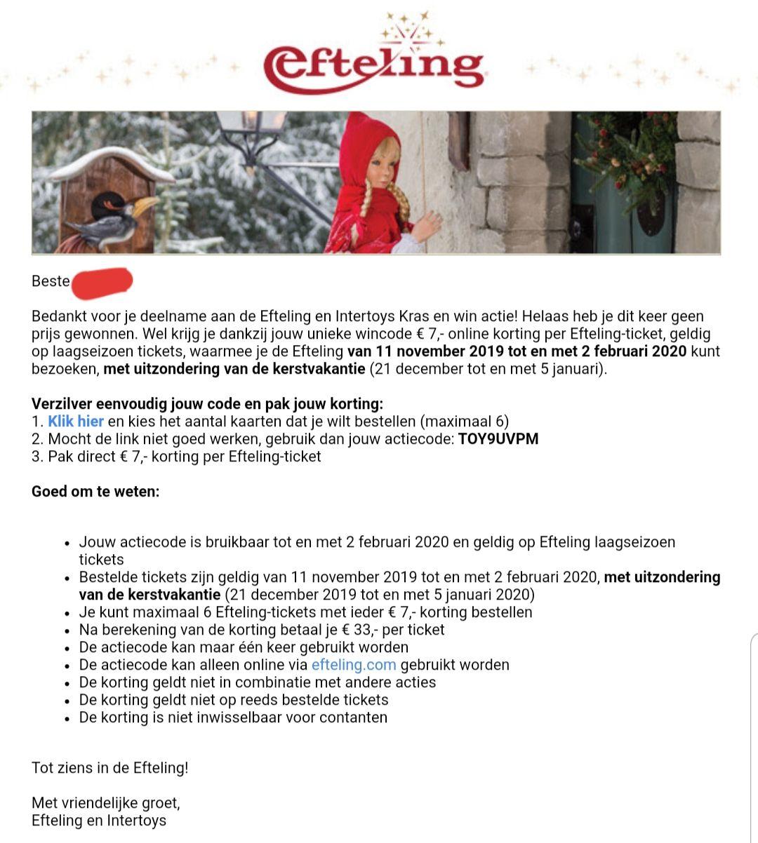 7€ korting per Efteling Ticket