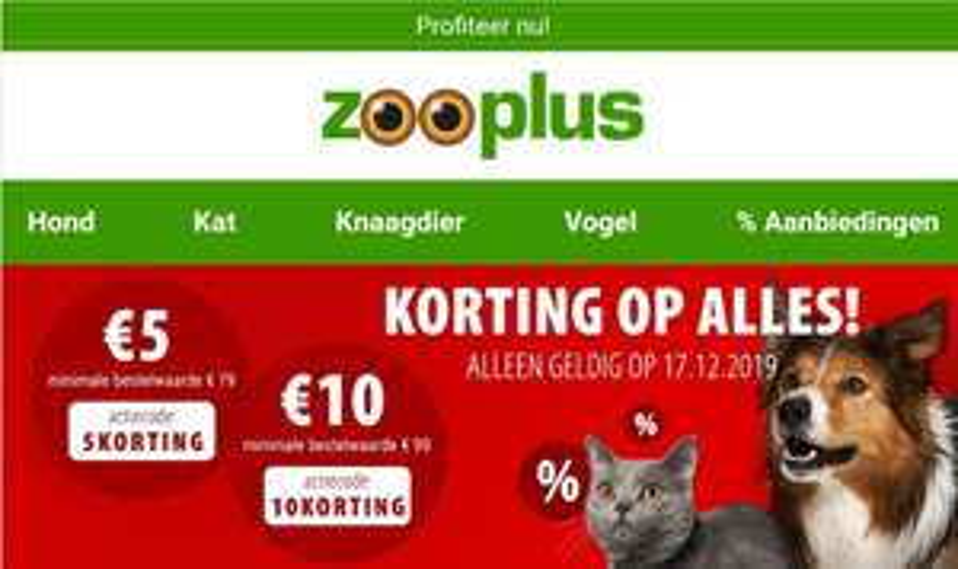 10 euro korting bij min. besteding 99 euro bij Zooplus