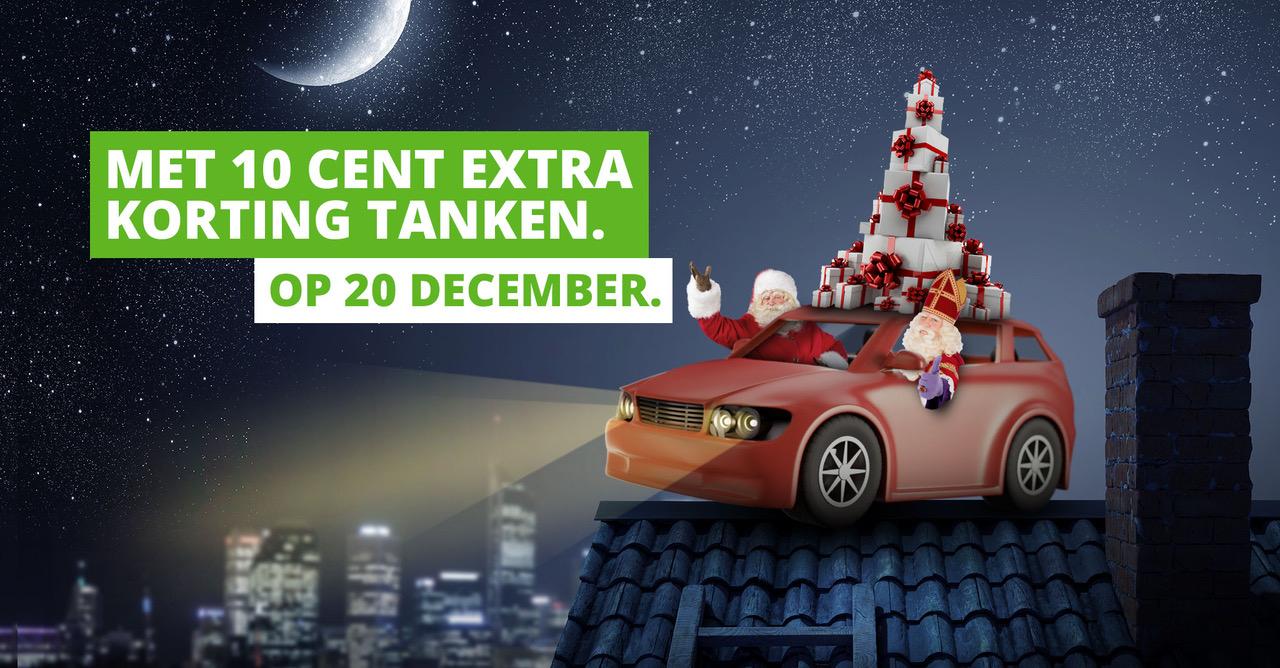 20 Dec. 10 cent korting per liter brandstof. Voor Energiedirectklanten icm Tankey app.