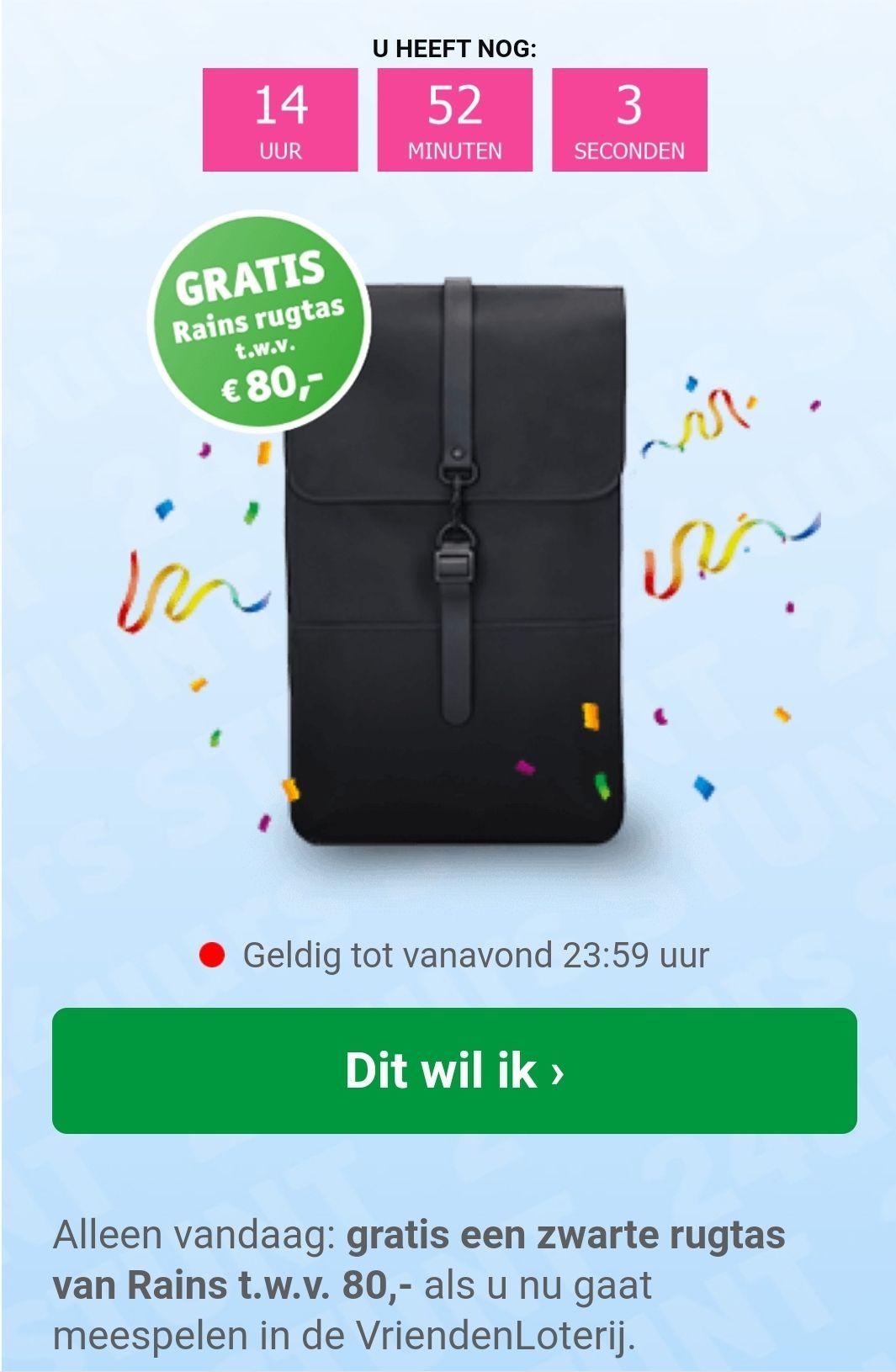 'Gratis' (bij 1 lot à €13,75) Rains ras t.w.v. € 80