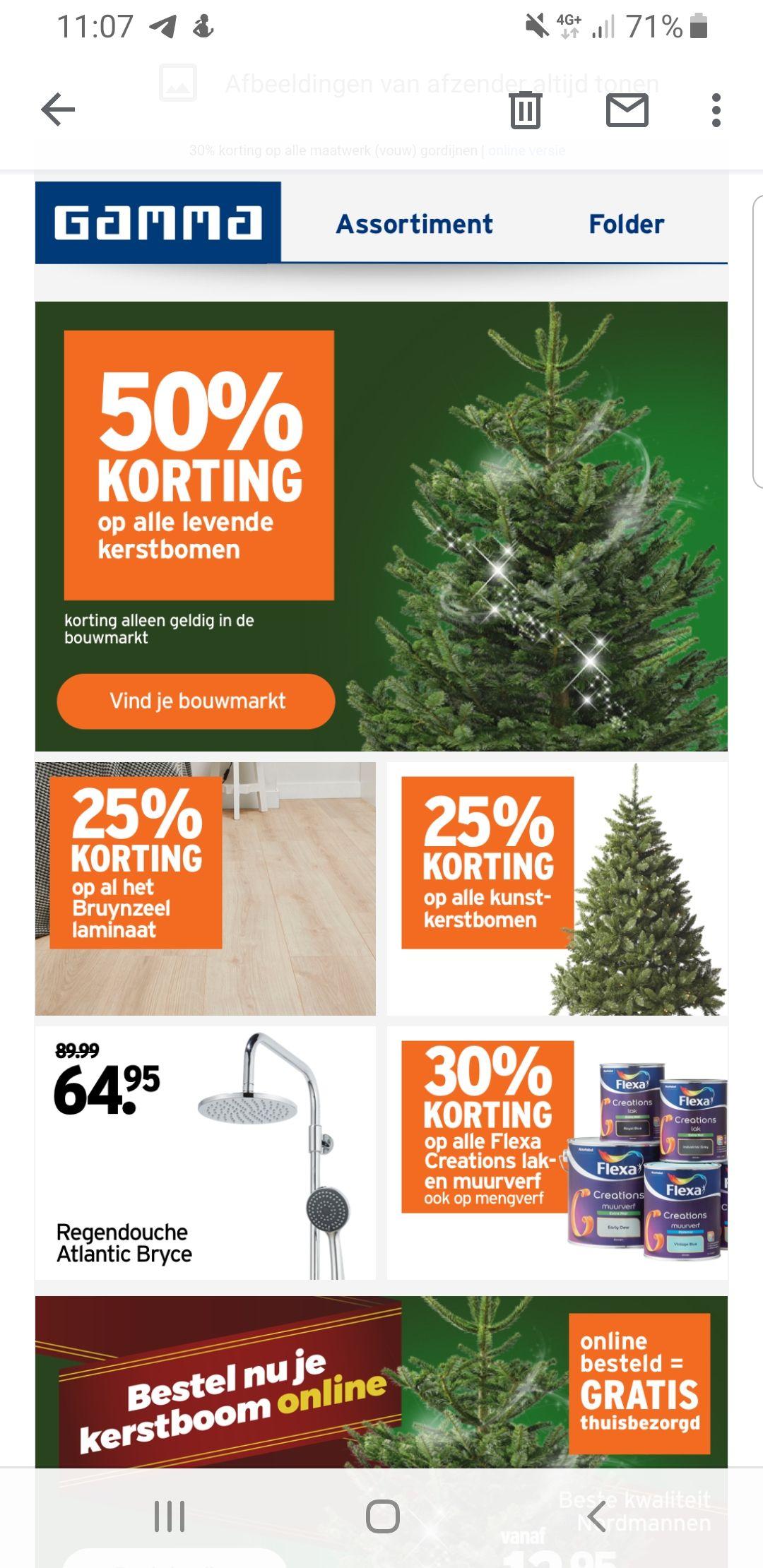 50% korting op alle echte kerstbomen & 25% op alle kunstkerstbomen