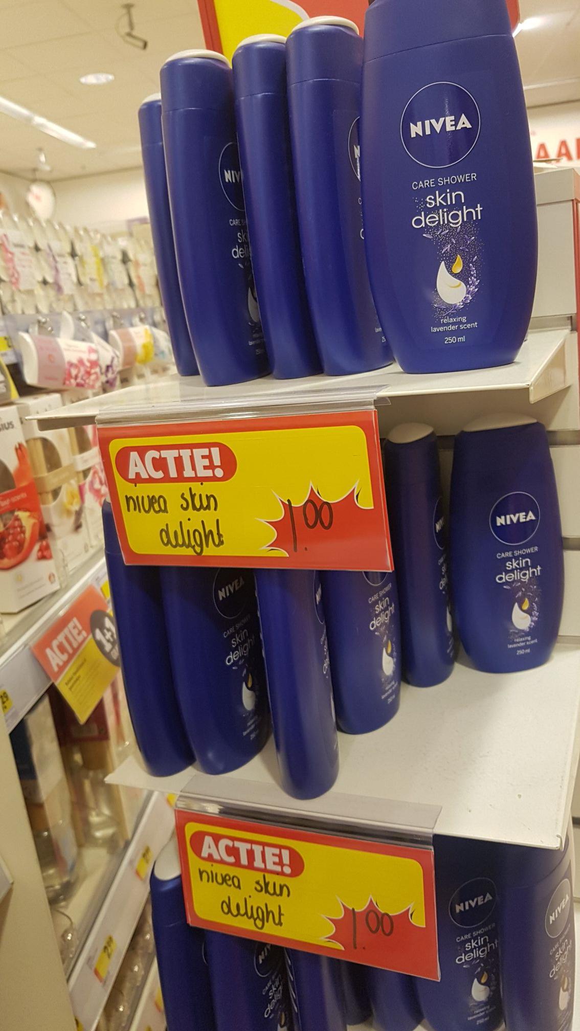 2 verpakkingen Nivea douche a 250ml voor €1.- @Kruidvat