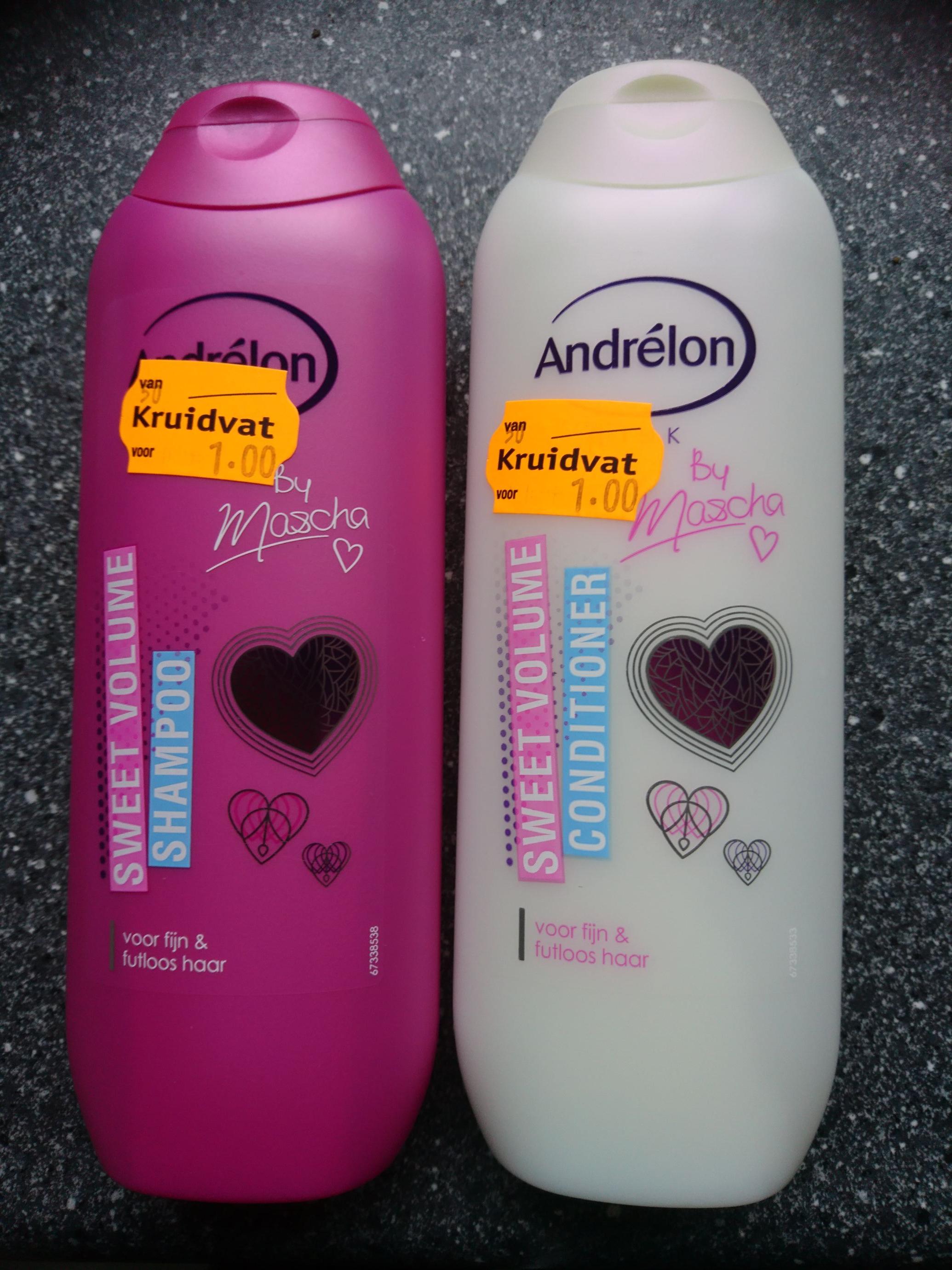 Sweet volume shampoo en conditioner sterk afgeprijsd normaal €4,19