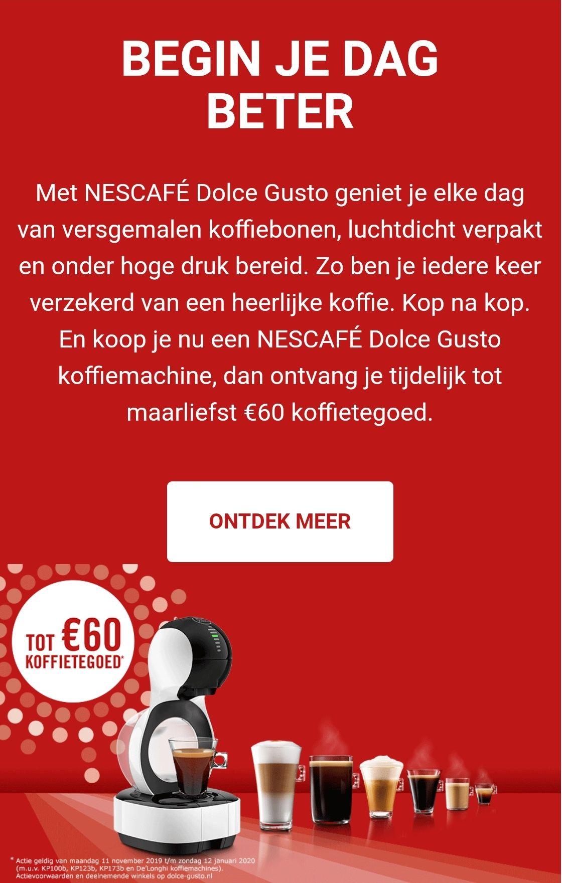 Tot €60 koffie tegoed bij recentelijke aankoop Dolce Gusto Machine