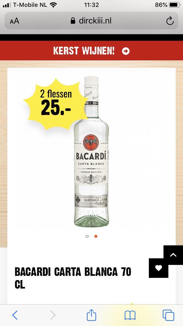 2 flessen Bacardi 70cl voor 25 euro
