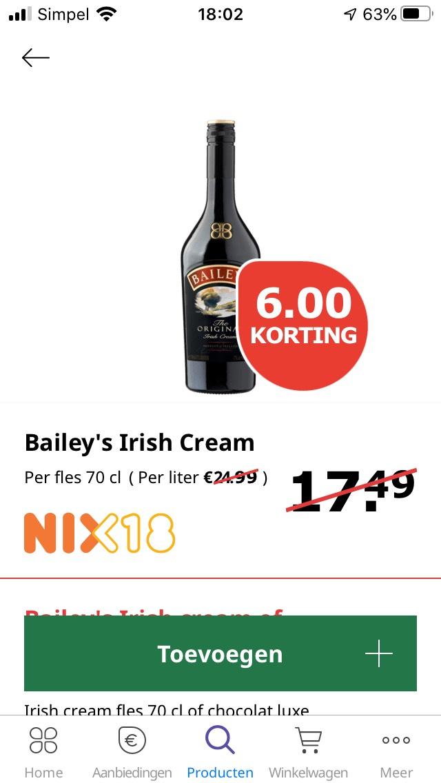 Baileys 70cl voor €11,49 bij PLUS