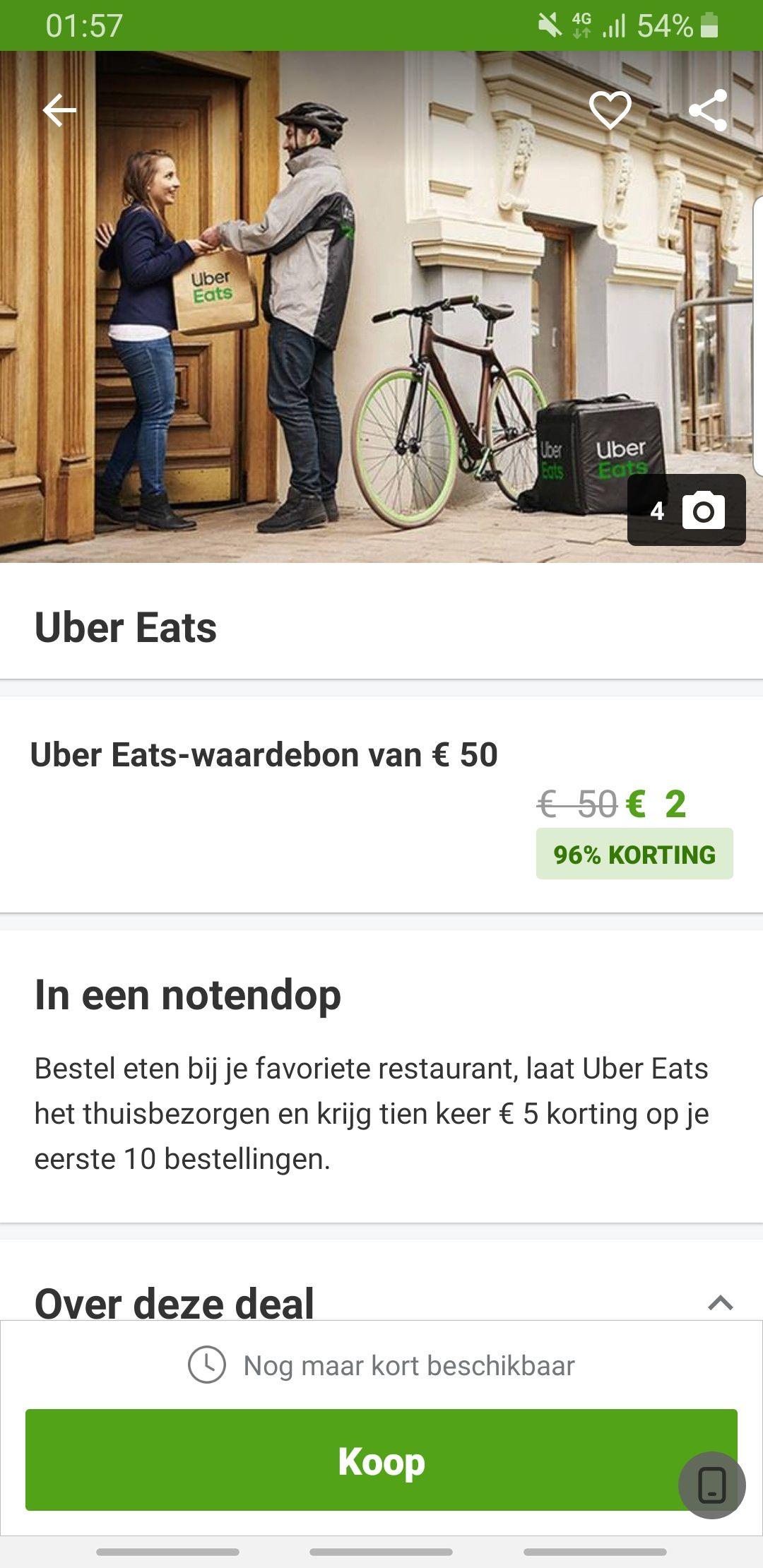 10x 5 euro korting Uber Eats bij groupon