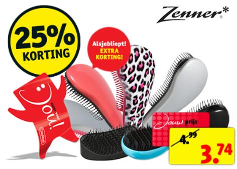 Kruidvat dagdeal: Zenner Tangle Free haarborstels 25% korting