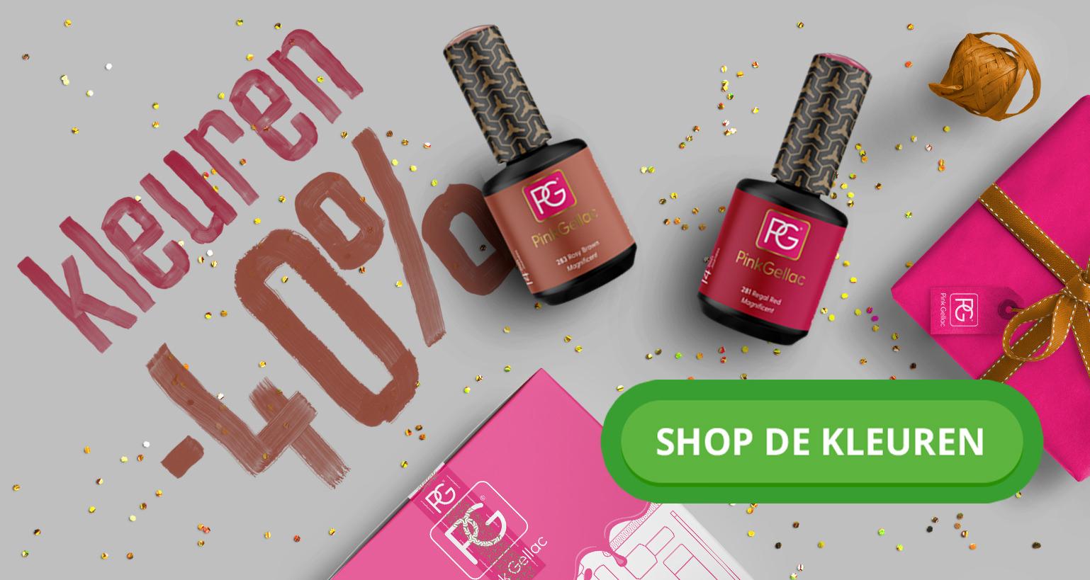 Pink Gellac korting, 40% op kleurtjes en tot 50% op sets