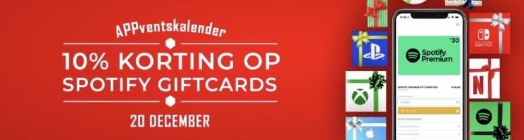 10% korting op spotify giftcards!