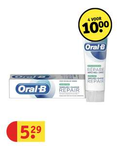 Alle Oral-B tandpasta -> 4 stuks voor 10 euro @ Kruidvat België (wel gelijkaardige actie in NL)