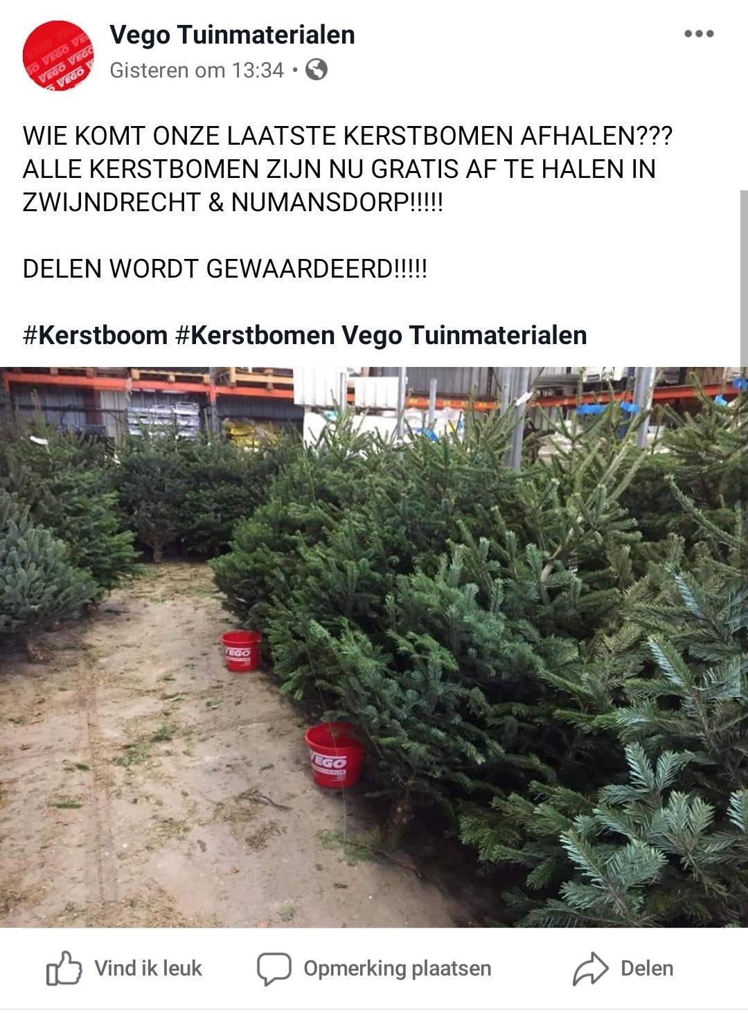 Gratis Kerstbomen in Zwijndrecht en Numansdorp @ Vego Tuinmaterialen