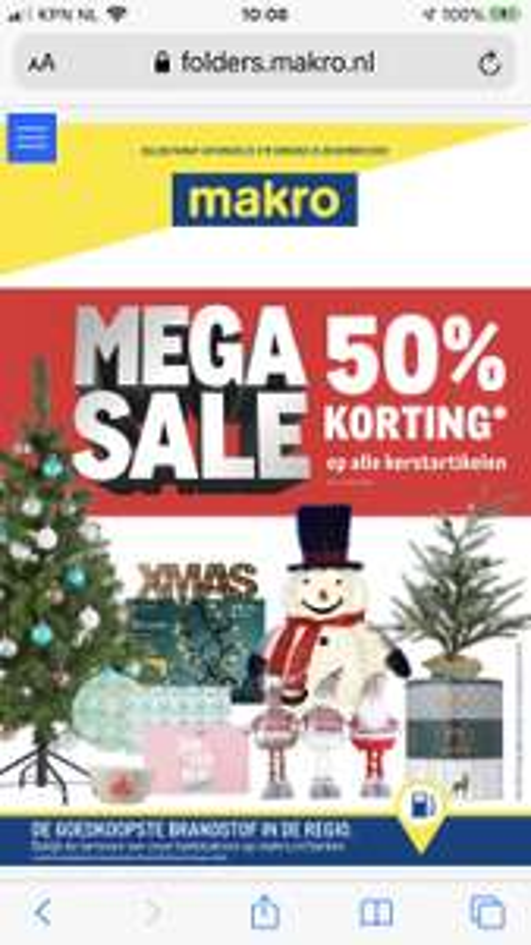 MAKRO mega sale 50% korting kerstartikelen m.u.v. Food en mode vanaf 21 dec.