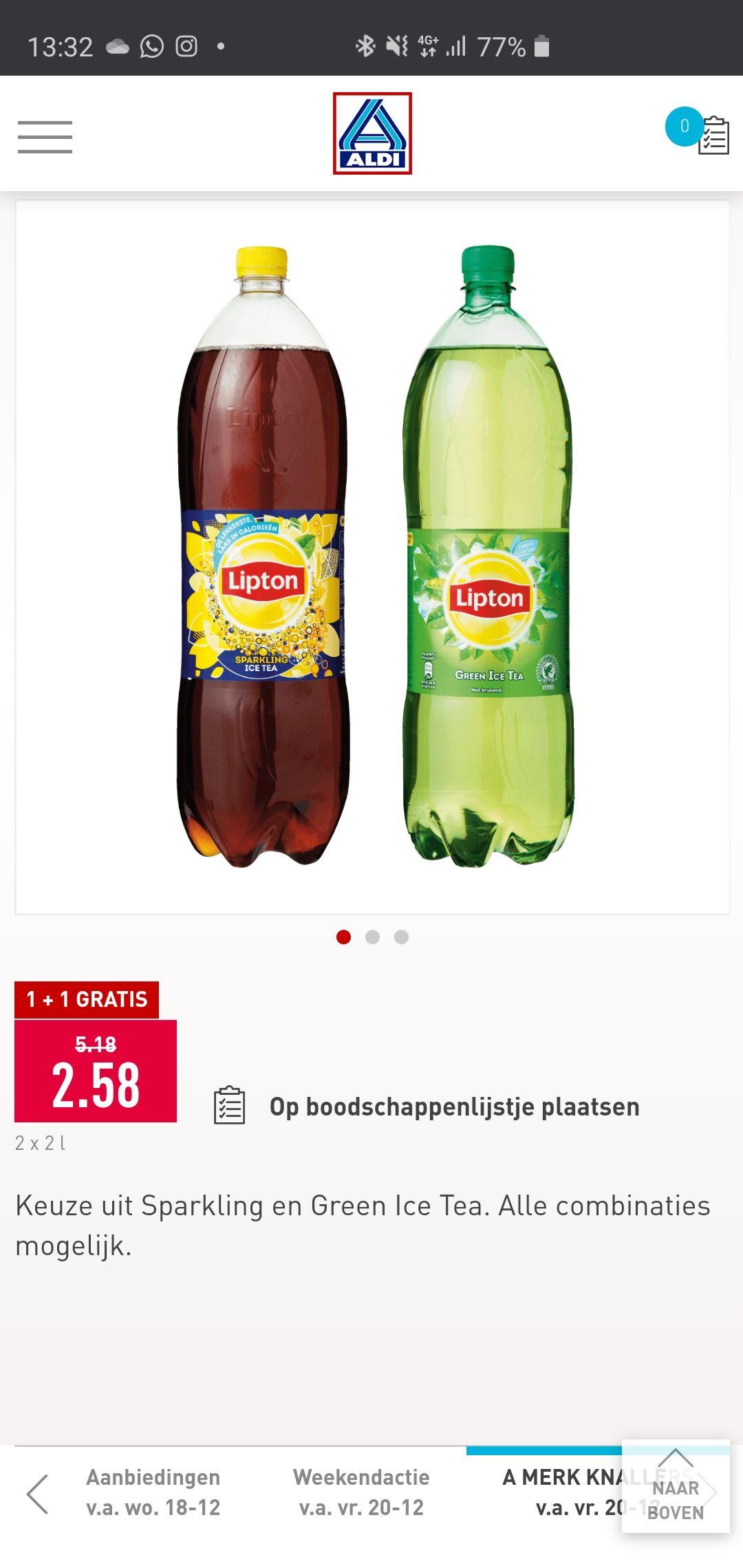 ALDI: Lipton Ice Tea 2l flessen 1+1