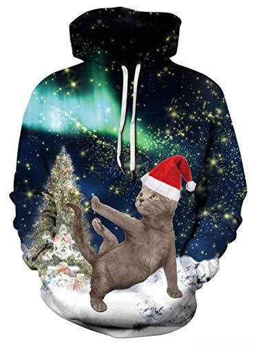 Dansende Kat met kerstmuts in hemelachtige sterrenrijk met kerstboom. Hoodie.