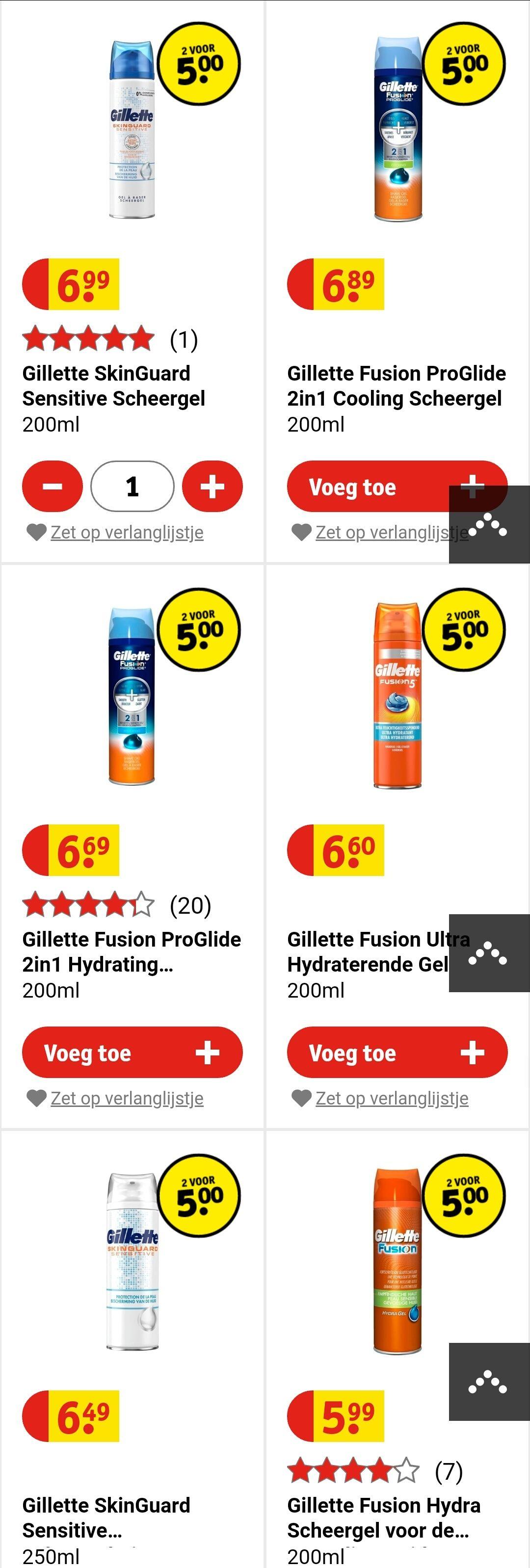 2 Gillette scheerschuim/scheergel voor €5 (ook dure varianten) @Kruidvat