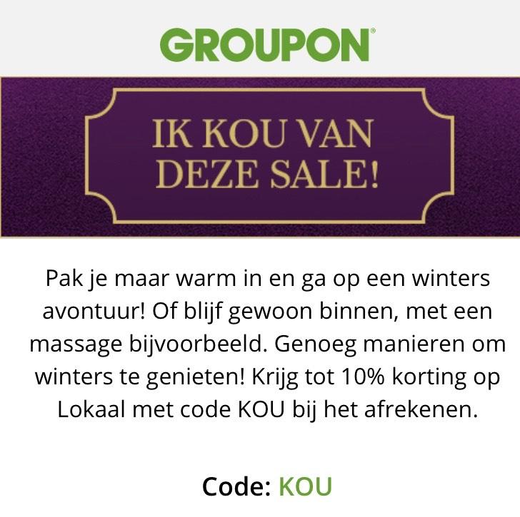 10% korting bij Groupon