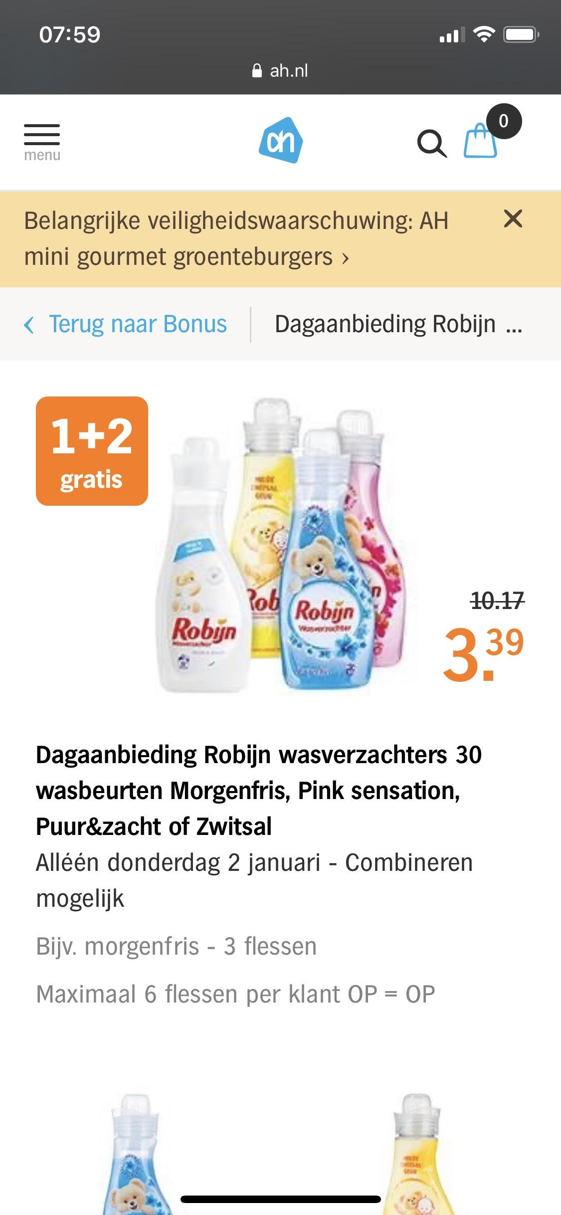 1+2 gratis! Dagaanbieding Robijn wasverzachters Albert Heijn
