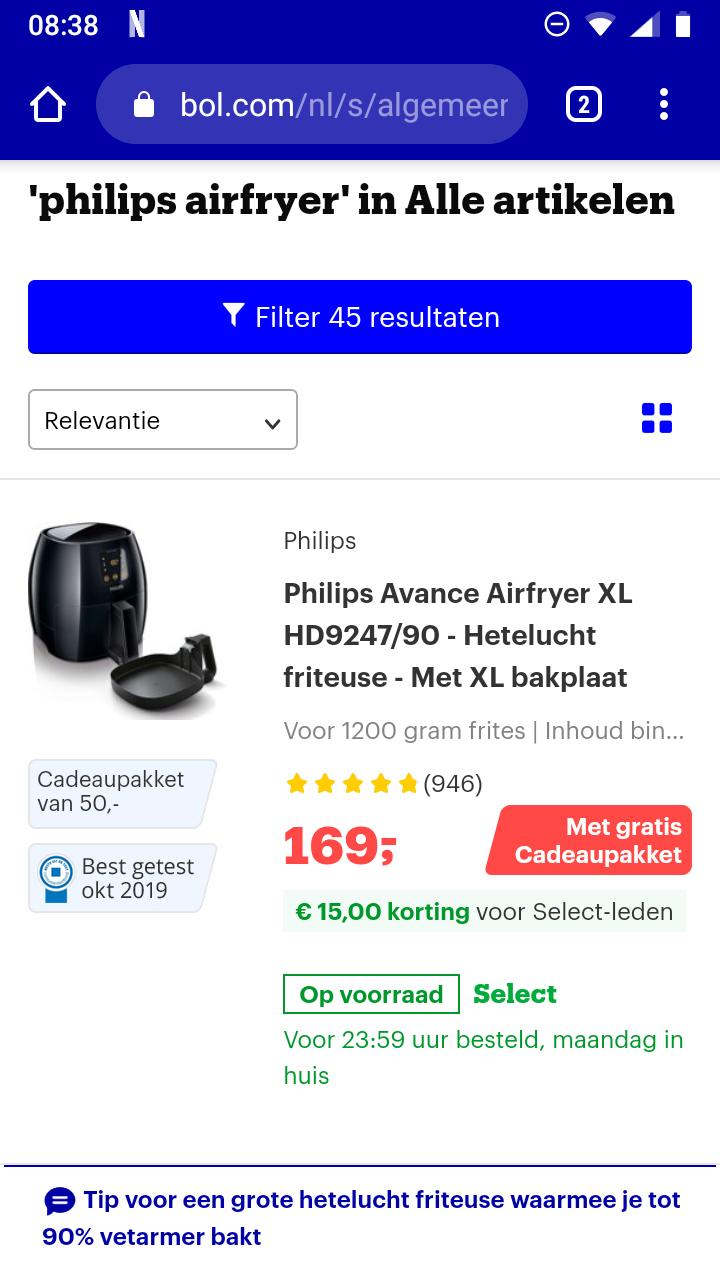 Philips Avance Airfryer XL HD9247/90 + bakplaat + cadeau voor select leden bol.com