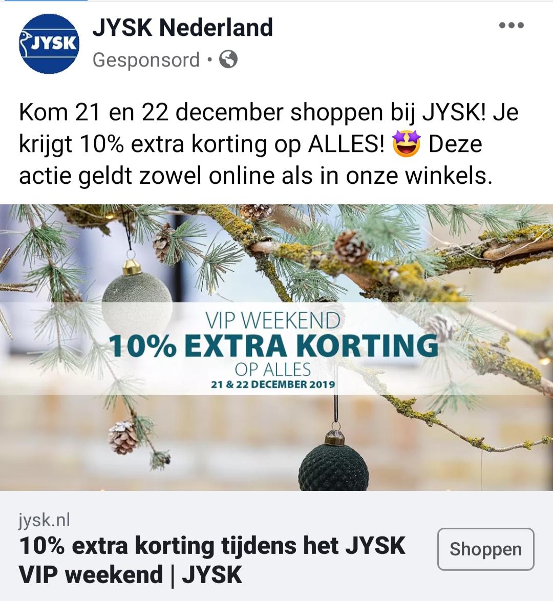 10% extra korting op ALLES bij JYSK