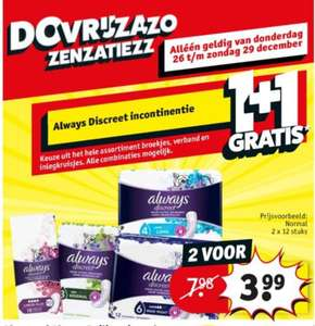 @Kruidvat.1+1 always discreet incontinentie: do 26dec-zo 29dec
