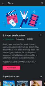 Voor 1 euro en film op Google play movies
