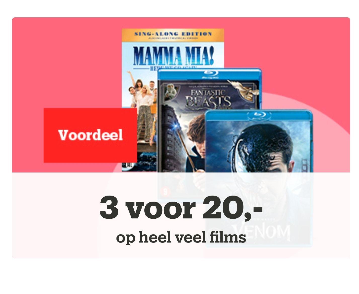3 voor 20,- op heel veel films