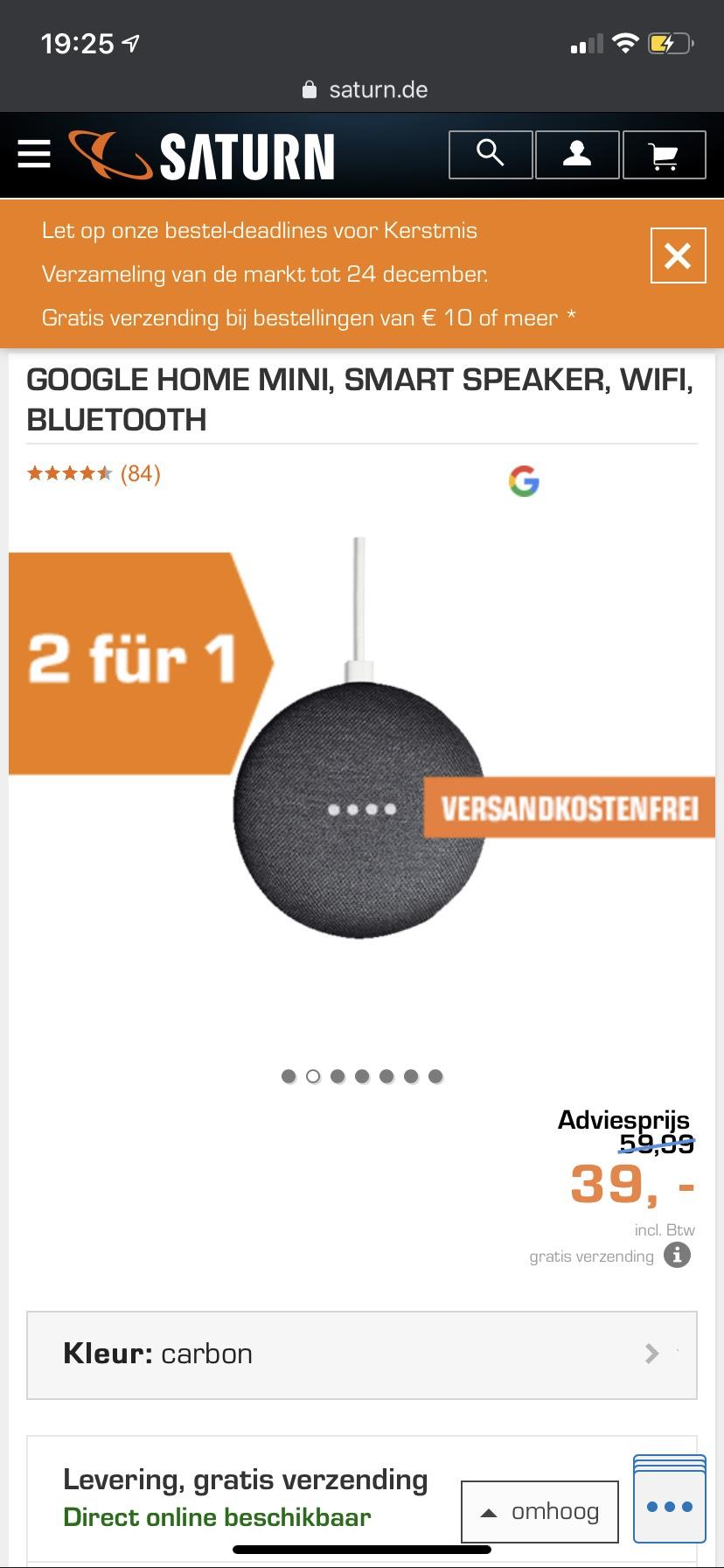 Google home 2 voor 1 bij de Saturn (Duitsland)