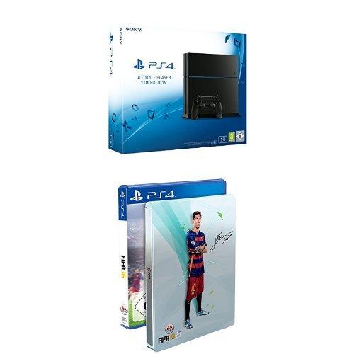 PlayStation 4 1TB (CUH-1216B) + FIFA 16 (steelbook) voor €359 @ Amazon.de