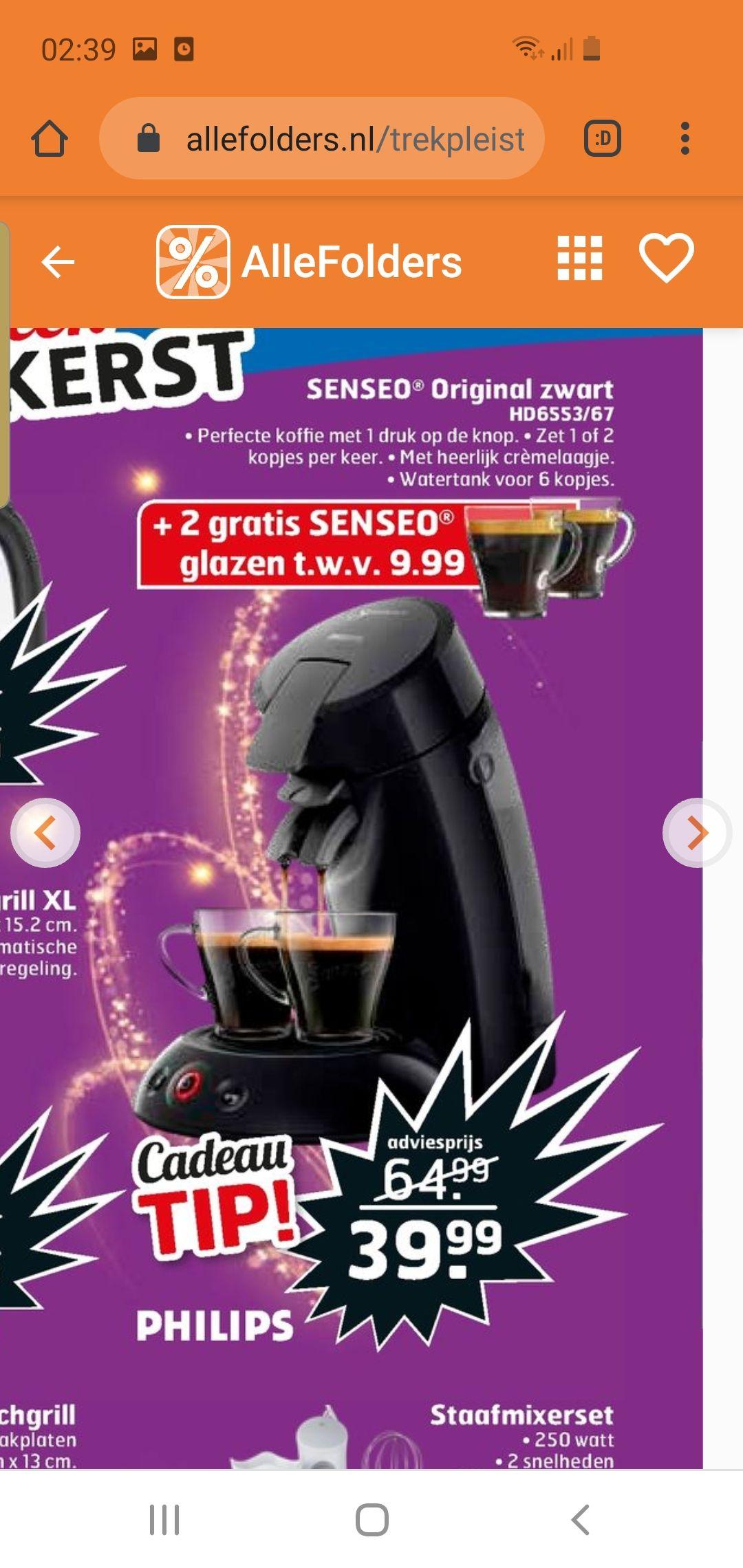 Philips Senseo original zwart met 2 gratis glazen ter waarde van €9.99