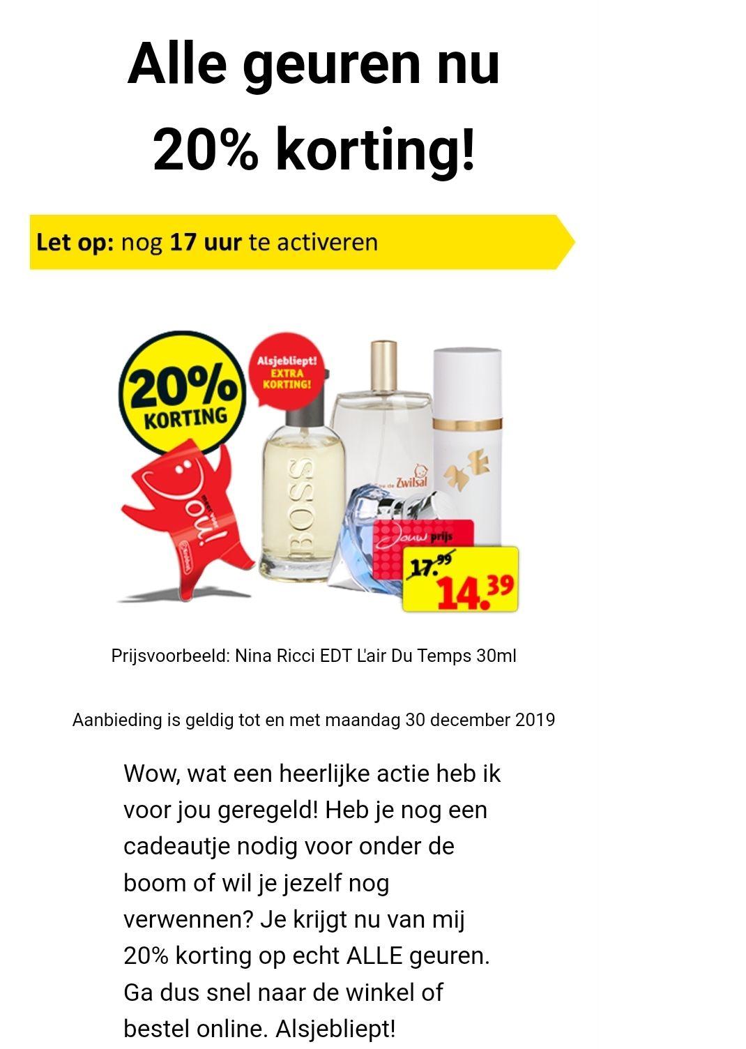 20% extra korting op parfum dagdeal