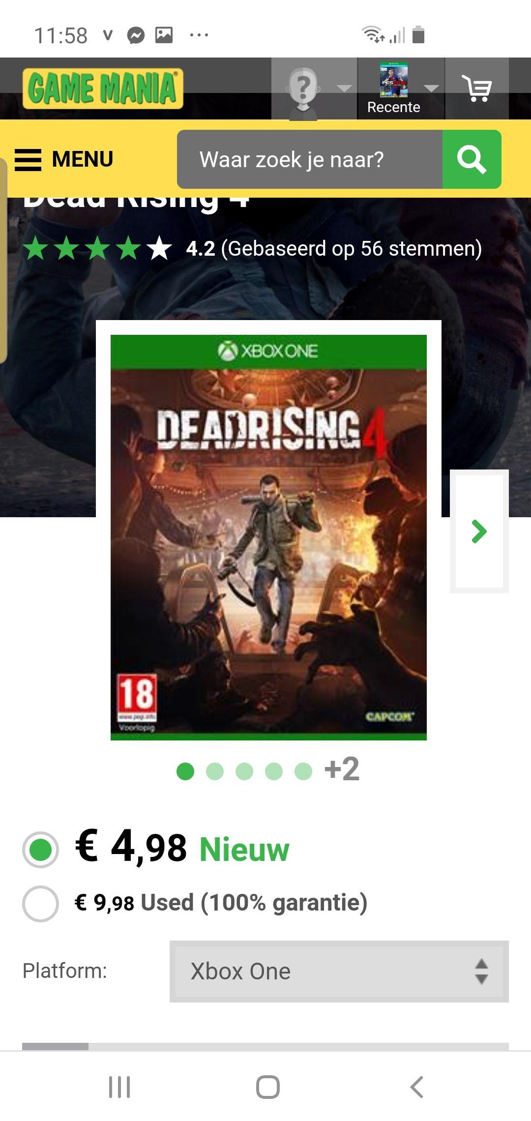 Dead rising 4 xbox one 5 euro maar
