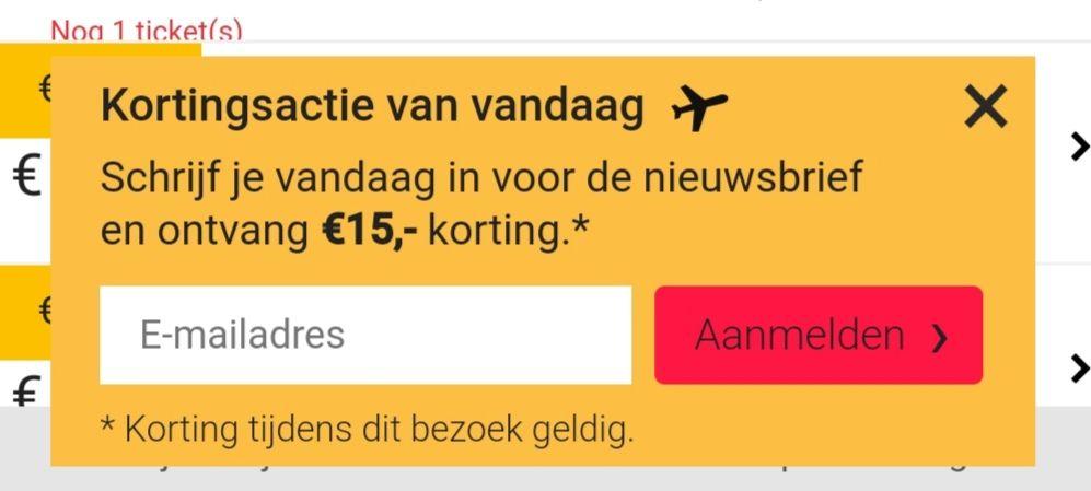 15,- korting op vliegticket Tix.nl