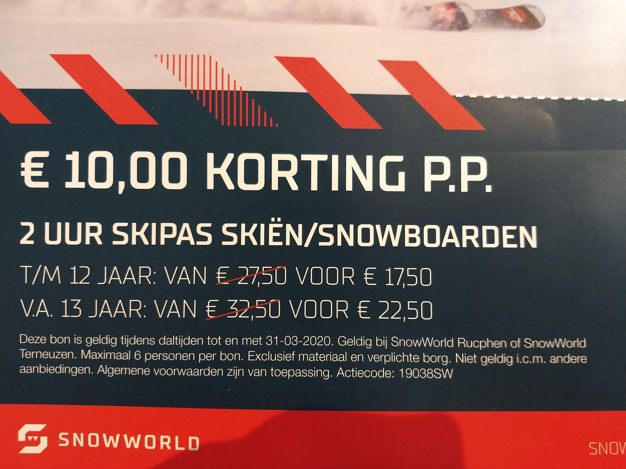 Tien euro korting bij Snowworld Rucphen en Terneuzen