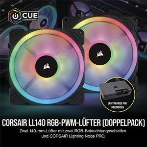 Corsair LL140 RGB 140mm Dual Light Loop RGB LED PWM Fan - Twin pack + Lighting Node PRO, 140mm