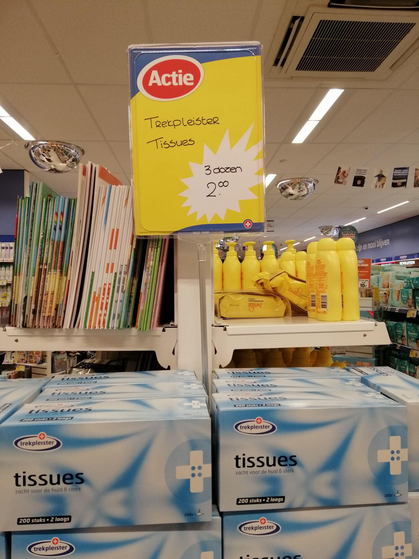 3 halen €2,- betalen tissue dozen a 200 2 laags vel voor Trekpleister