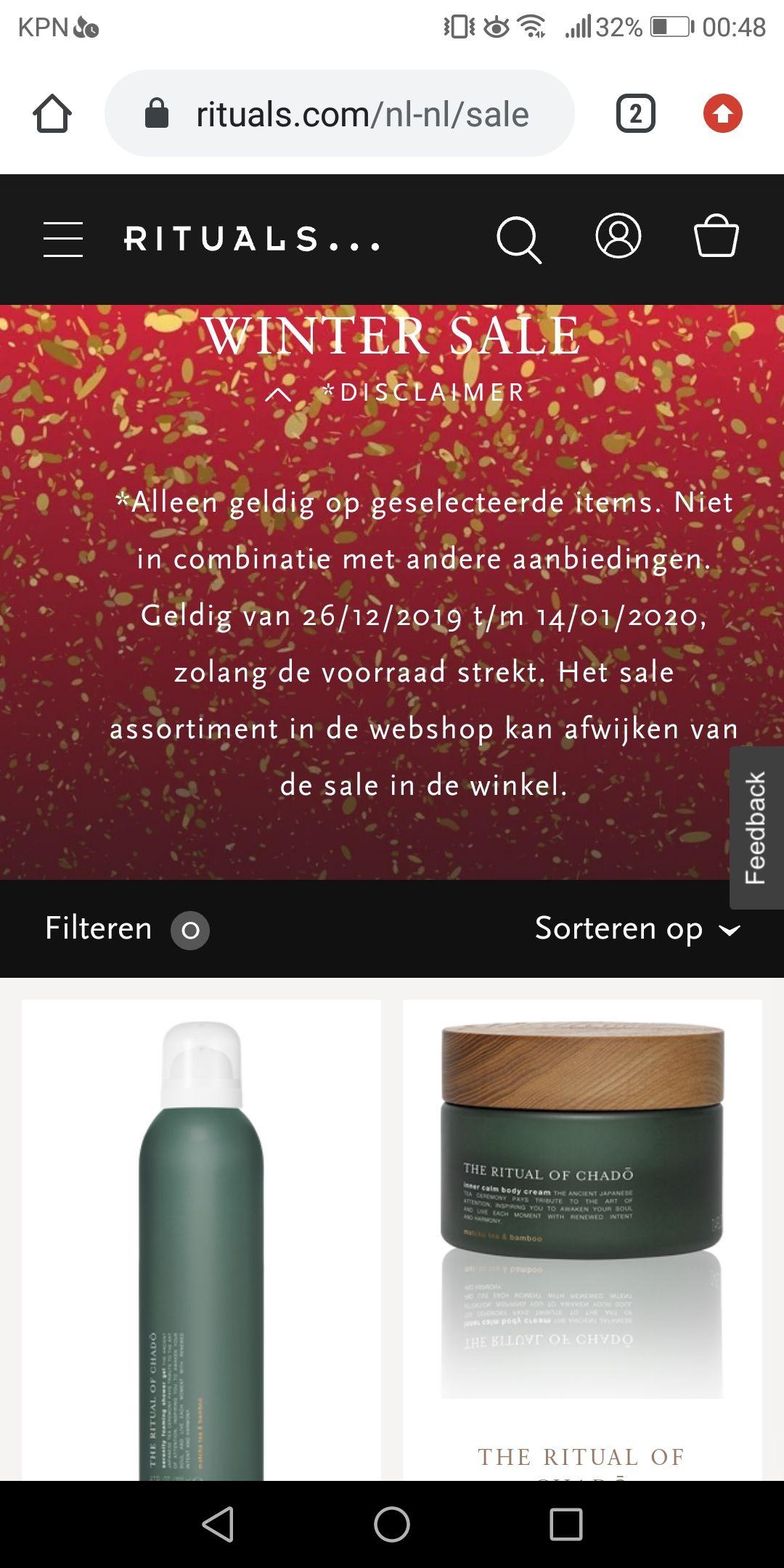 Rituals Winter Sale op rituals.nl ook restje Yalda en Chado!
