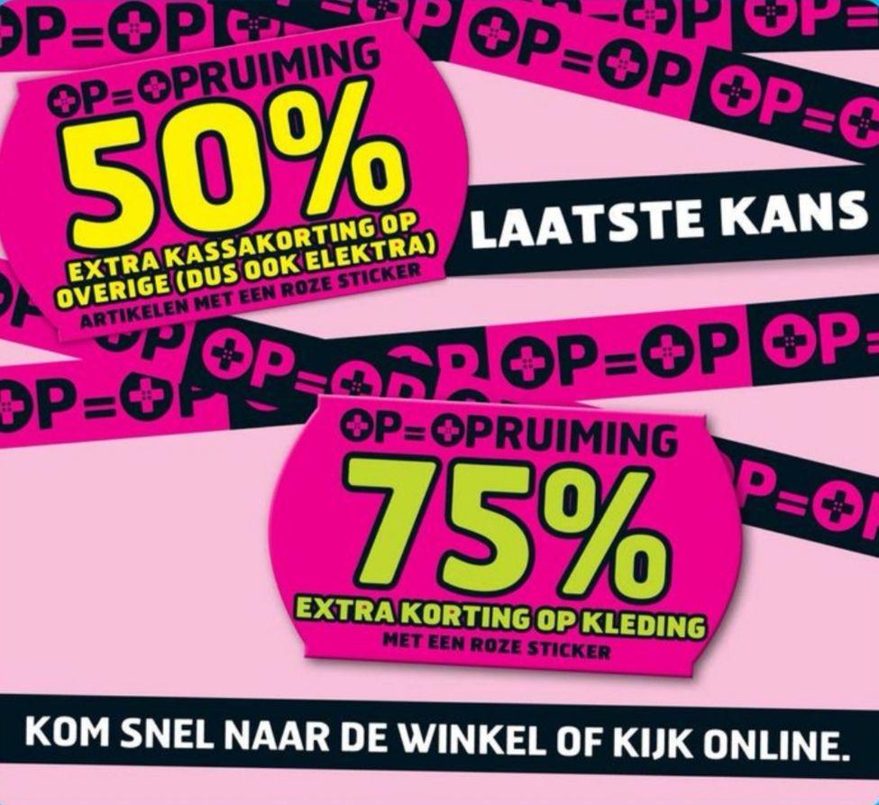 OP=OPruiming bij Trekpleister! Tot 75% korting online en in de winkel | Trekpleister