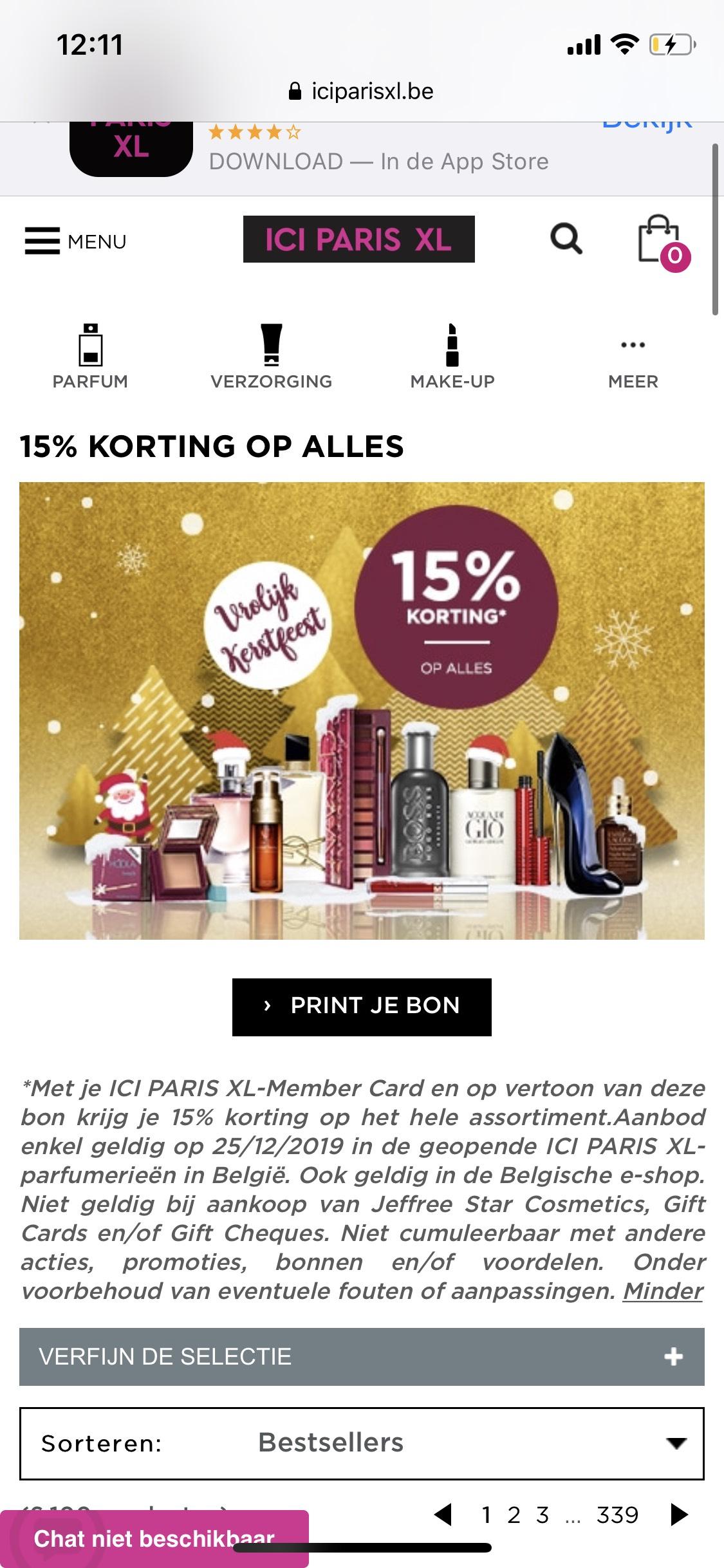 15% korting bij Belgische Ici Paris XL op 25/12