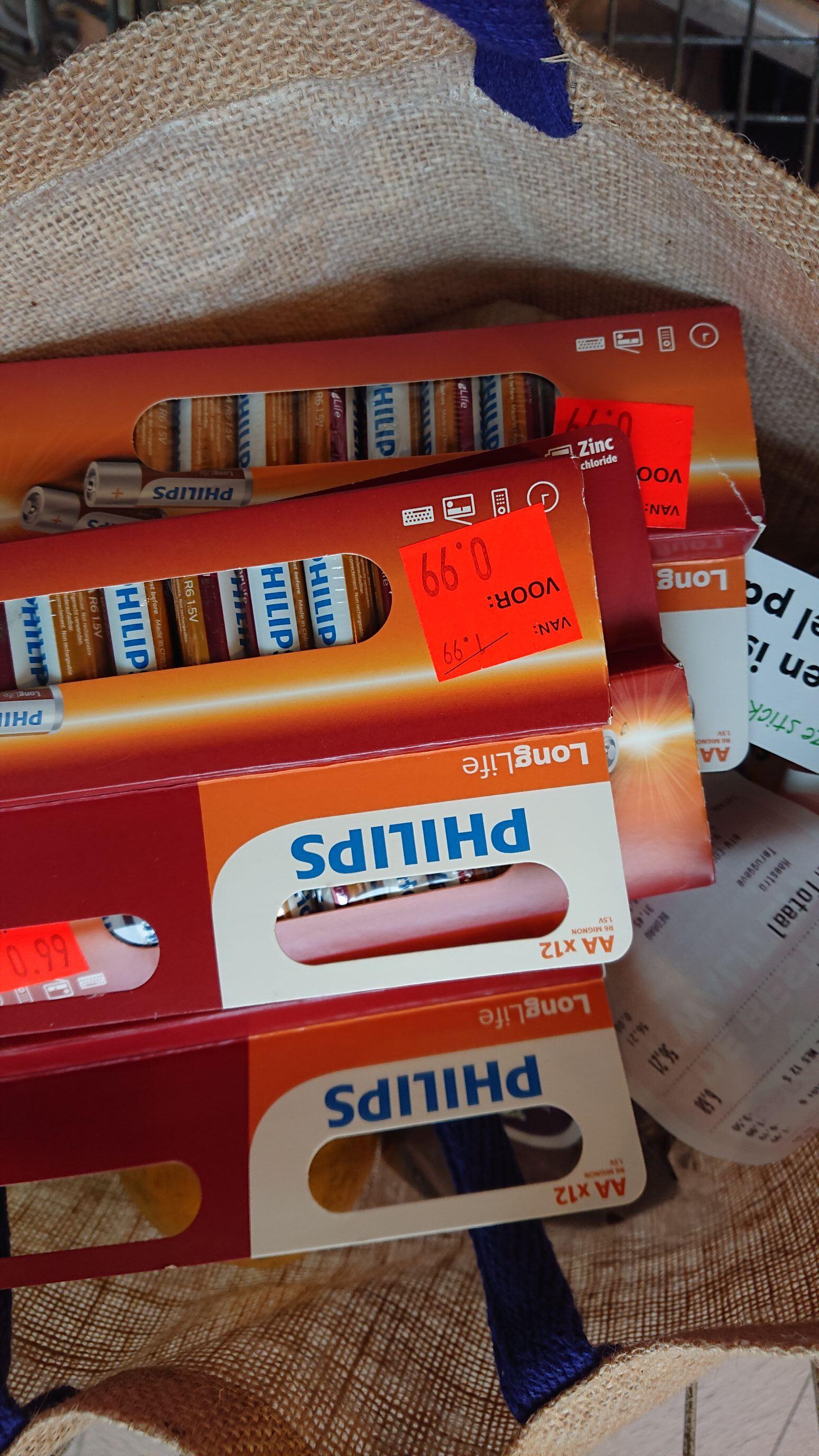 Vomar 12 AA Philips batterijen voor €0,99
