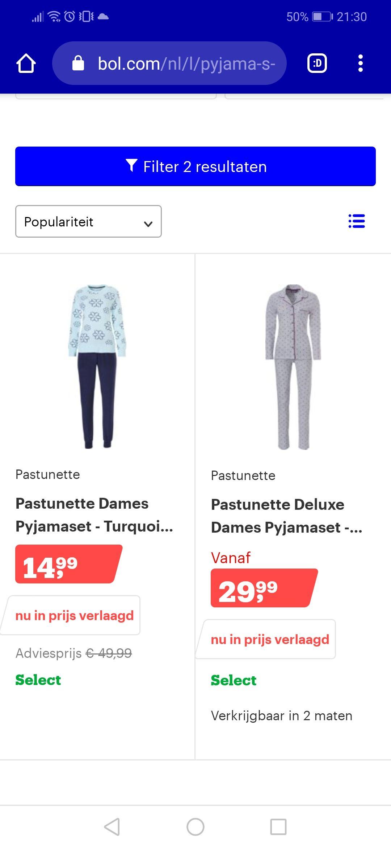 Pastunette dames pyjama's v.a. maat L. 50 - 70% korting. Voorbeeld van €49,95 voor €14,99 maat L.