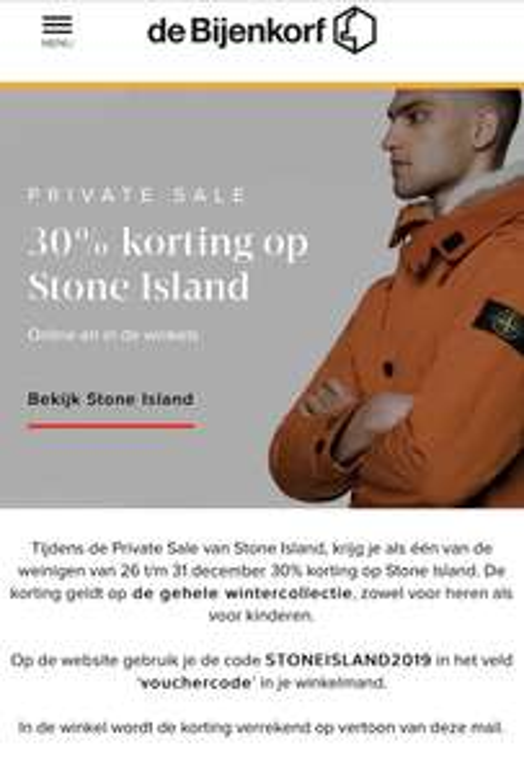 30% korting op Stone Island Bijenkorf