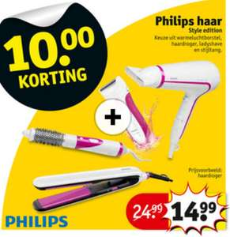 €10 extra korting op Philips Styling (warmteluchtborstel, haardroger, ladyshave en stijltang) @ Kruidvat